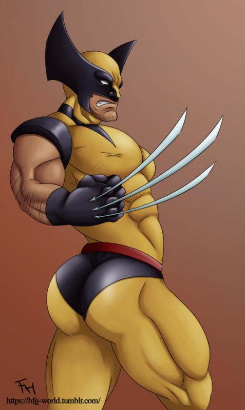 Wolverine sort ses griffes, et creuse son dos pour montrer le meill...