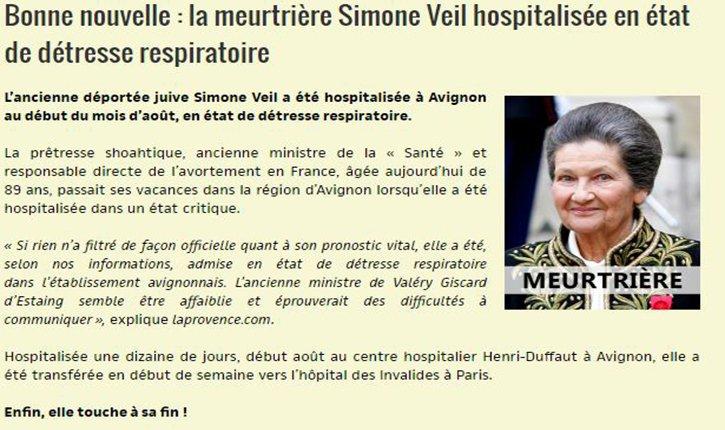 Un site d'extrême droite se réjouit de l'état de santé de Simone Veil | Europe Israël news