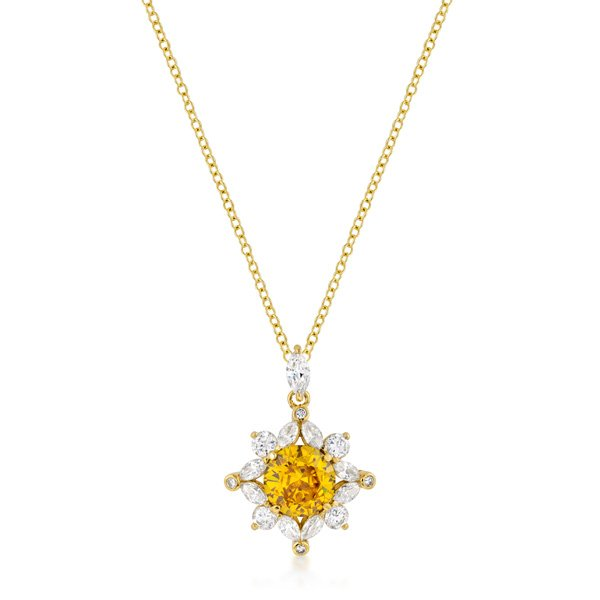 18K Gold Plated Classic Sun Pendant in Goldtone Cuboc Zirconia