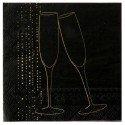Serviette de table champagne or papier noir x20 : Serviette papier