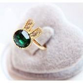 Bague or, faux diamant, femme, vert, forme lapin sur PriceMinister