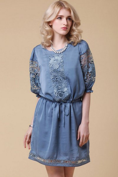 Elegant Elbow-Sleeve Cut Out Lace Dress - OASAP.com