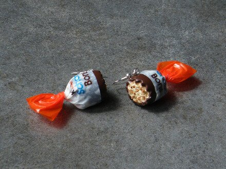 Boucle d'oreille bonbon au chocolat en fimo Argent 925