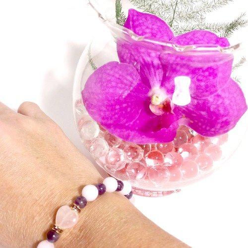 Bracelet coeur de quartz rose avec des perles d'améthyste et quartz rose