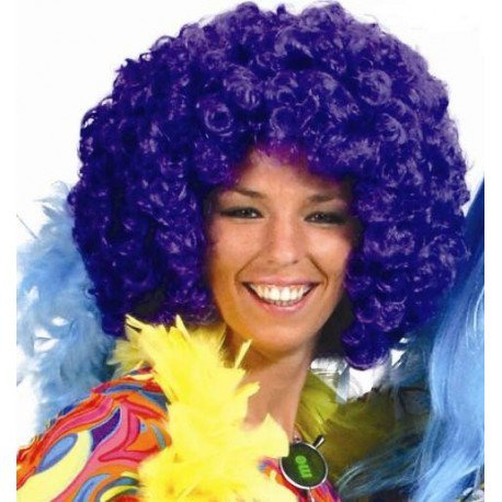 Perruque disco violette adulte : achat Perruques disco afro hippie