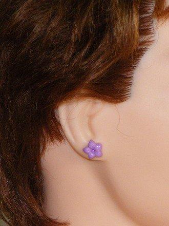 Boucle d'oreille puce Fleur couleur Violet