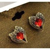 Boucles d'oreilles coeur émeraude+aile d'ange