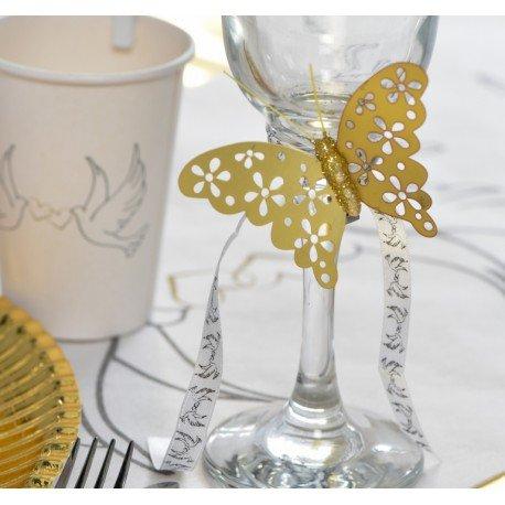 Papillon or métallisé sur pince les 4 : achat Papillons déco
