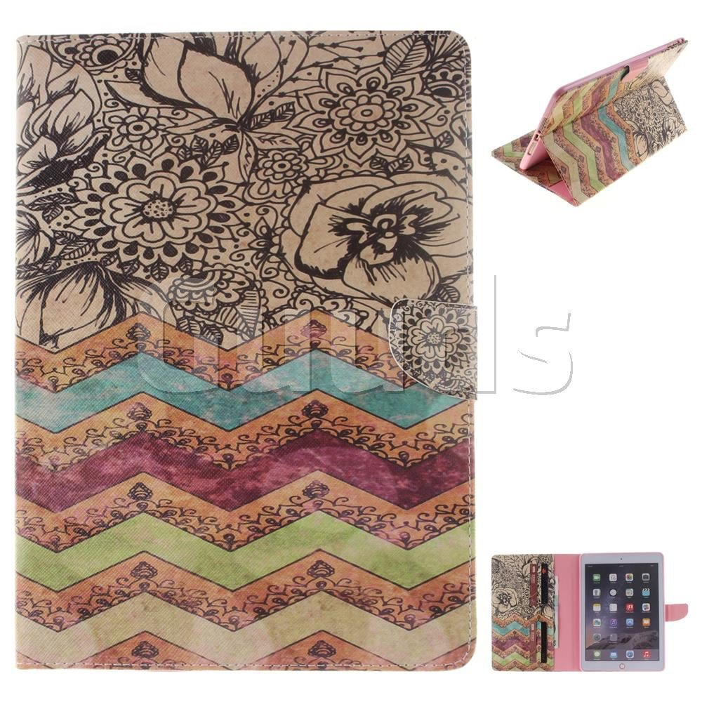 Wave Flower Painting Tablet Leather Wallet Flip Cover for iPad Air 2 iPad6