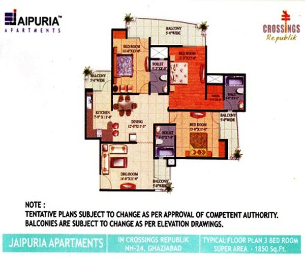 Jaipuria Apartments Floor Plan