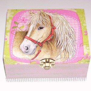 Boîte à bijoux cheval vert et rose