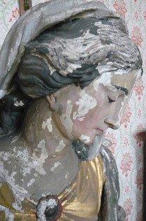 Patrimoine, Héron, Couthuin, Surlemez , redécouverte de statues de style baroque liégeois, attribuées à Cornélis Vander Veken pour un Ange Gardien et à Robert Verburg pour une Vierge à l'En...