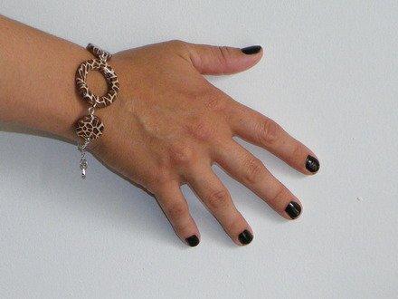 Bracelet rond léopard en fimo