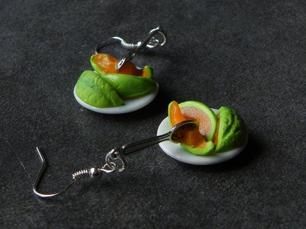 boucle d'oreille assiette melon en fimo Argent 925