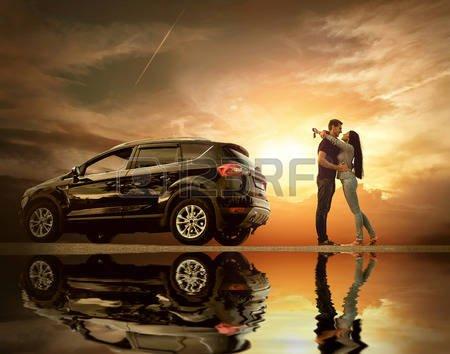 Couple Dans Une Voiture Banque D'Images, Vecteurs Et Illustrations Libres De Droits