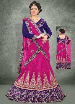 Apropos Pink Net Lace Work Wedding Wear Designer Lehenga Choli