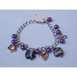 """Bracelet perles violettes et pendentif """"étoile"""" par JL Bijoux Création"""