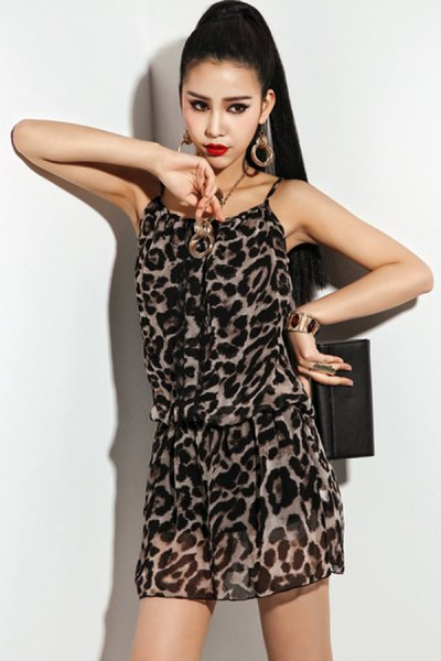 Strap Leopard Mini Dress - OASAP.com