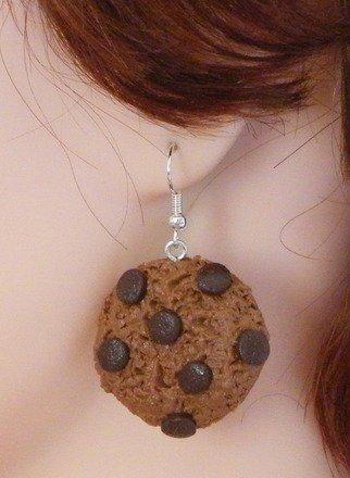 Boucle d'oreille Cookie en fimo Argent 925 : Boucles d'oreille par jl-bijoux-creation
