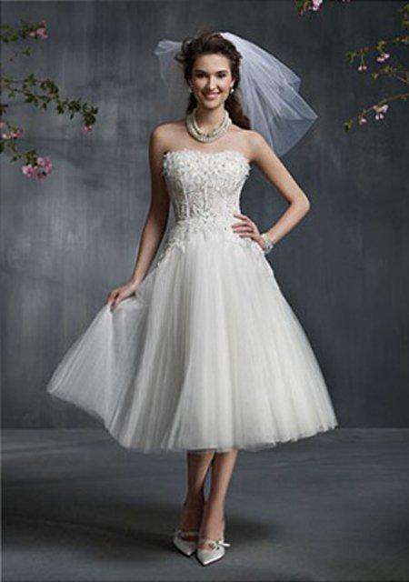 robe de mariée courte sans bretelle gaze dentelle romantique à 63.99 \u20ac ,  Boutique Tabouf
