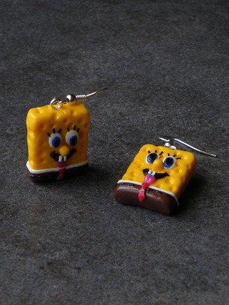 Boucle d'oreille bob l'éponge en fimo Argent 925 : Boucles d'oreille par jl-bijoux-creation