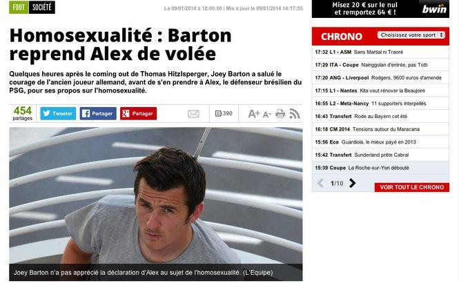 Joey Barton tacle Alex du PSG et soutient Thomas Hitzlsperger [L'Équipe]