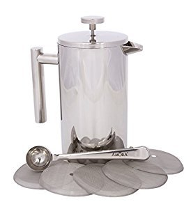 Amazon.com: Amora 8-cup Stainless Steel French Press Coffee Maker - FREE Coffee Spoon & 5 Mesh Filters: Home & Kitchen