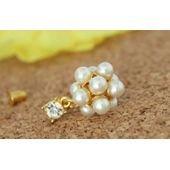 Boucles d'oreilles pendantes femme, diamant et perles blanches, or sur PriceMinister
