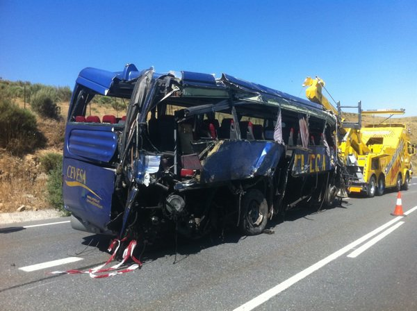 Fatal accidente de autobús en Avila