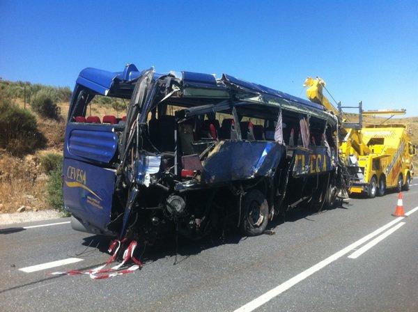 Fatal accidente de autobús en Avila