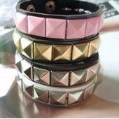 Bracelet cuir clouté femme, ajustable, noir/rose/blanc sur PriceMinister
