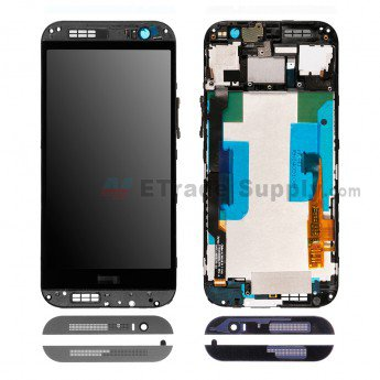 HTC One M8 LCD Screen and Digitizer Assembly with Frame Gray - ETrade Supply
