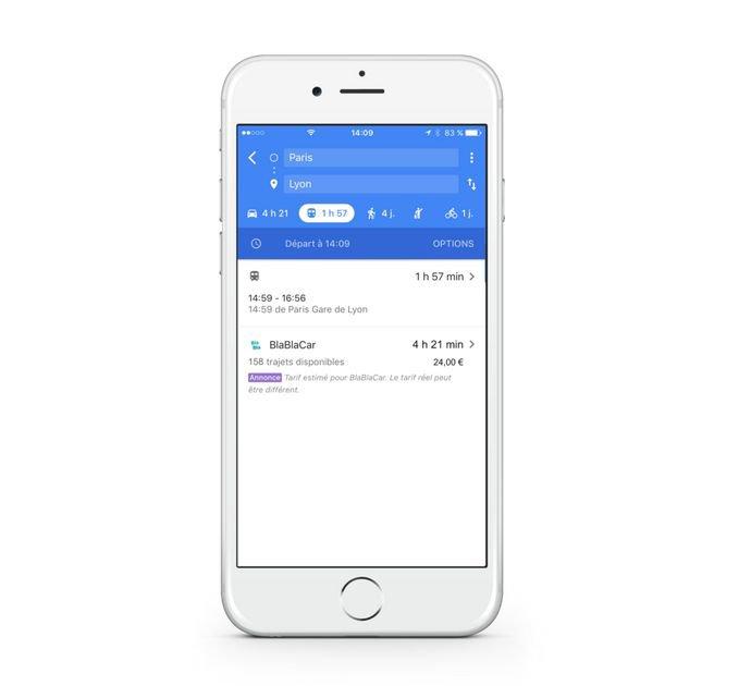 BlaBlaCar fait découvrir le covoiturage à Google Maps