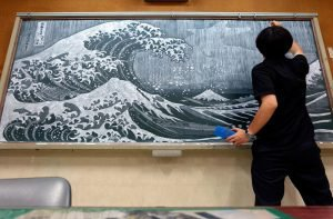 Japanese Teacher Surprises His Students With His Stunning Chalkboard Art - Art scene