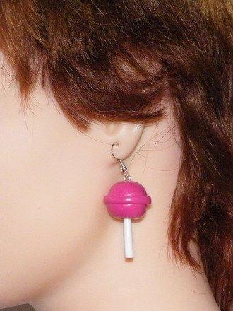 Boucles d'oreilles sucette en fimo Argent 925