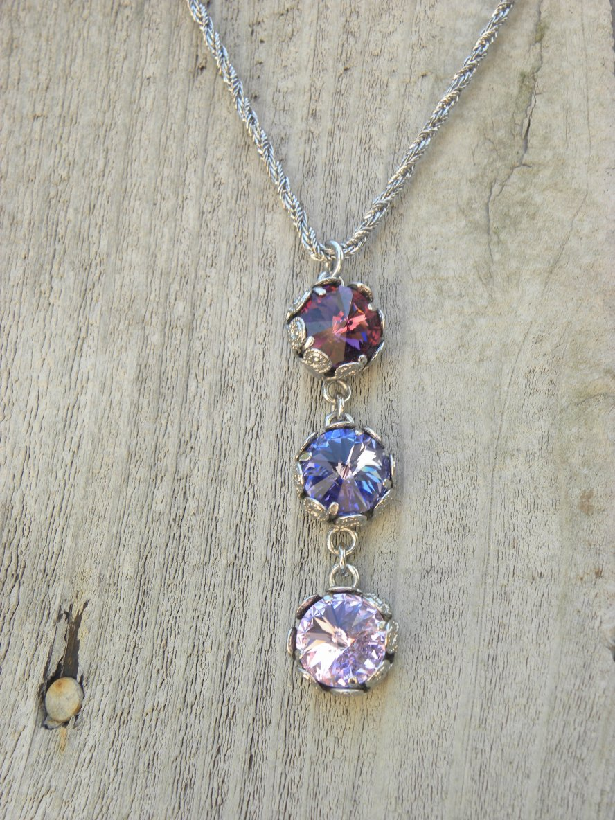Silver Three tier pendant necklace - banoucouture