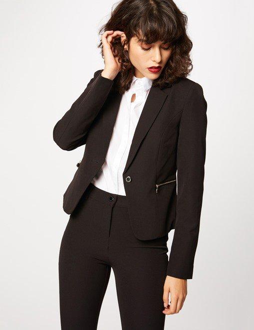 Veste blazer courte détails zips Morgan - Veste Morgan - Ventes-pas-cher.com