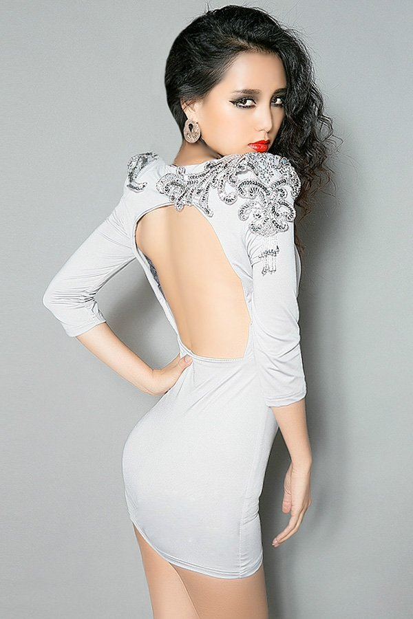 Shiny Beaded Dress with Open Back - OASAP.com