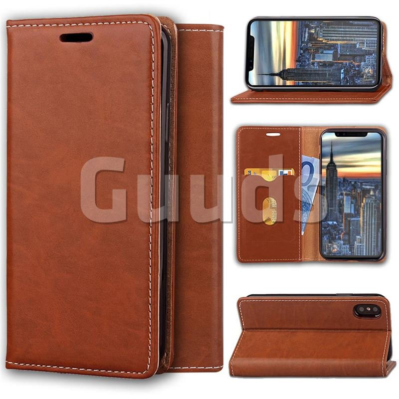 Multi Function Phone Magnetically Holster Case for iPhone X - Brown - Leather Case - Guuds