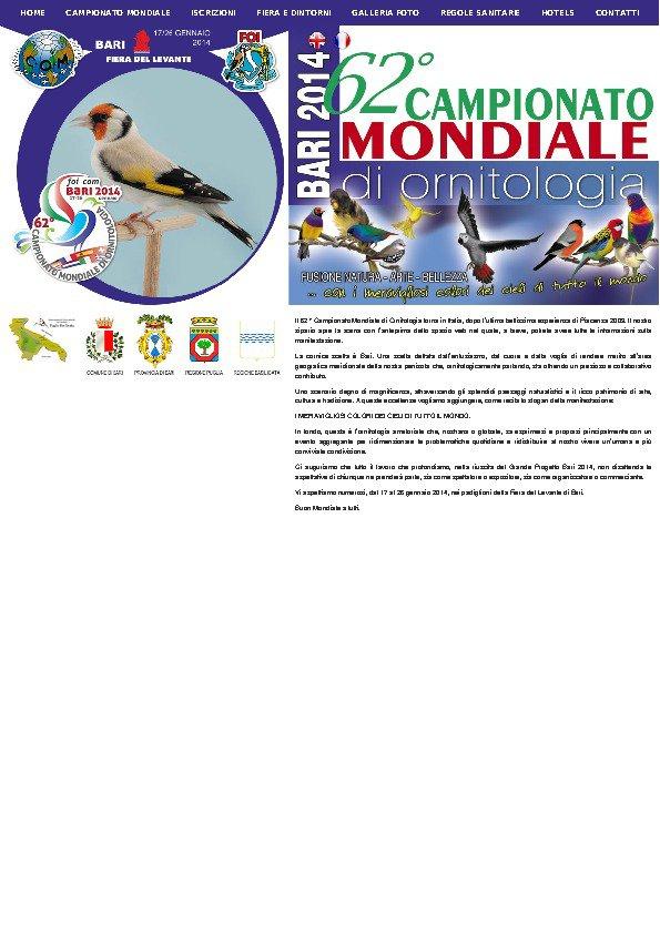 Comitato Organizzatore Campionato Mondiale Ornitologia Bari 2014 - Titolo Italiano - Bari, BA