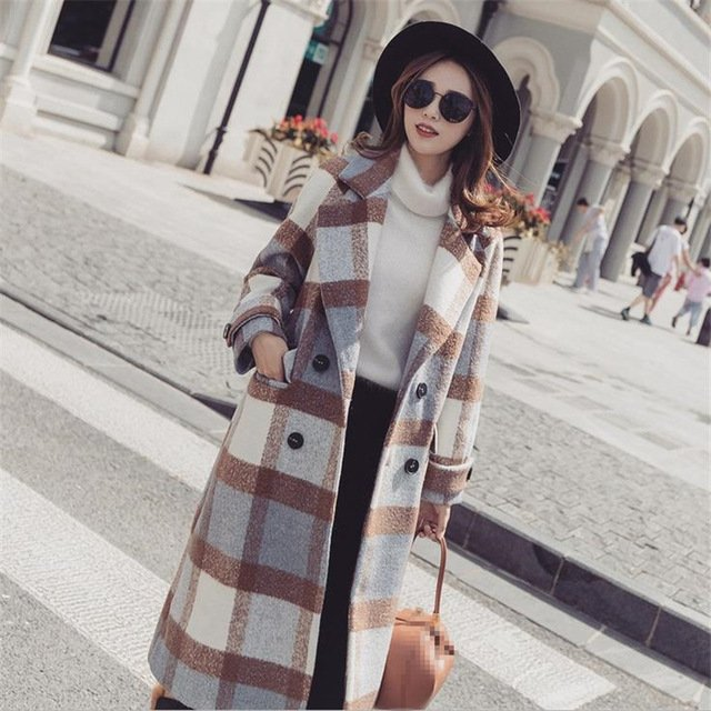 DoreenBow HIGH QUALITY Women Plaid Wool Blend Autumn Winter Pockets Single Breasted Long Trench Fashion Outwear Coat, 1 PC-in Wool & Blends from Women's Clothing & Accessories on Aliexpress.com...