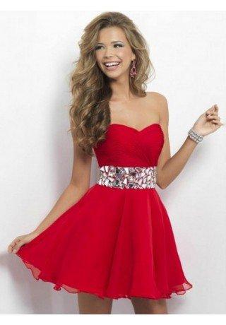 A-line Sweetheart Chiffon Red Cocktail Dresses/Short Prom Dress With Rhinestone - Evening - Fashionweddingdress.co.uk