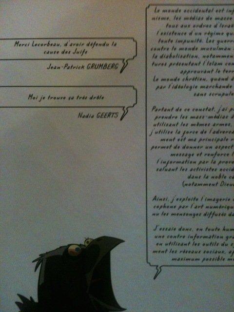 """À l'attention de Joe le Corbeau, éditeur de son """"Shoah Hebdo"""" - Les carnets de Nadia Geerts"""