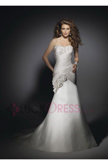 Sleeveless Chapel Train Zipper Sweetheart Cheap Wedding Dresses - Luckdress.co.uk