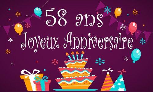 Carte anniversaire enfant 58 ans gateau