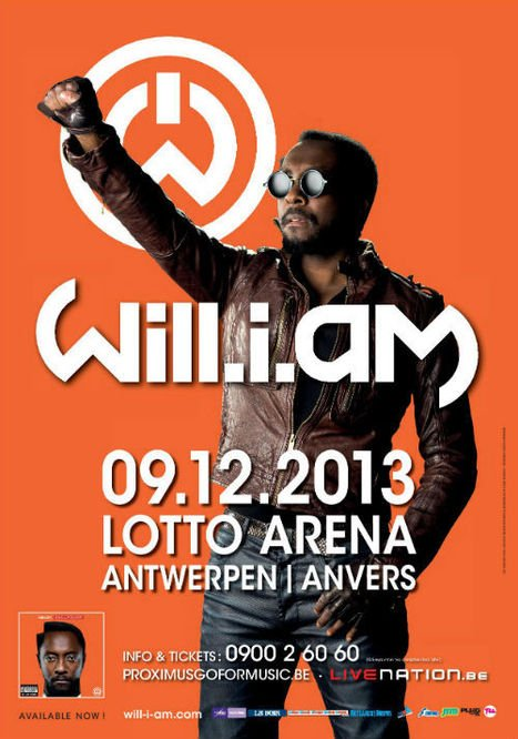 Free tickets • CHRONYX.be offre 10 DUO TICKETS pour le concert de WILL.I.AM le LUNDI 9 DECEMBRE à Anvers!