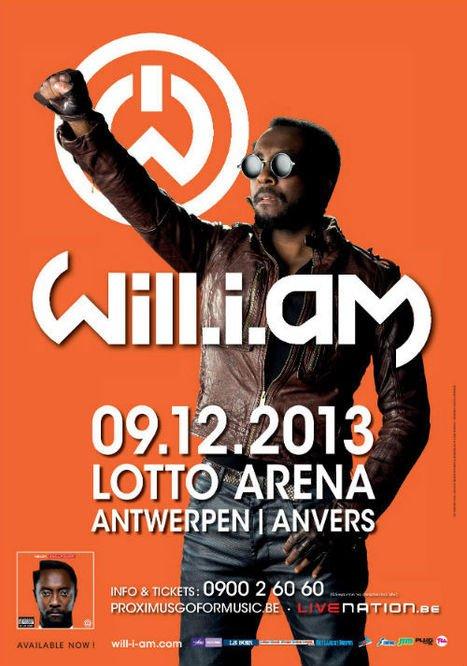 Free tickets • CHRONYX.be offre 10 DUO TICKETS pour le concert de WILL.I.AM le LUNDI 9 DECEMBRE à Anvers!