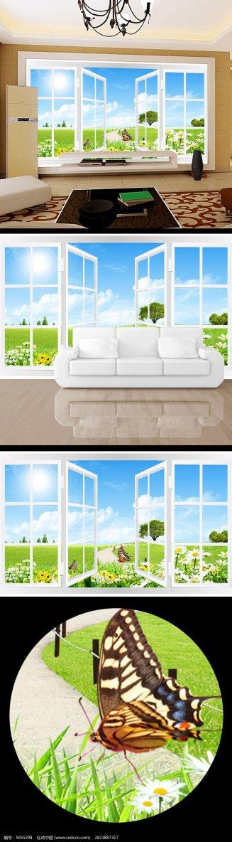 3d立体窗户春色清雅电视背景墙PSD素材下载_背景墙设计图片
