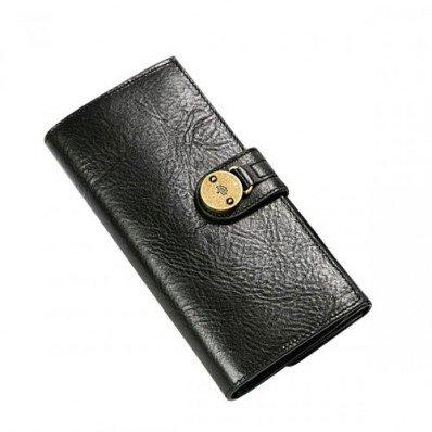 Elite Mulberry Men Long Natural Leathers Wallet Black For Sale Online
