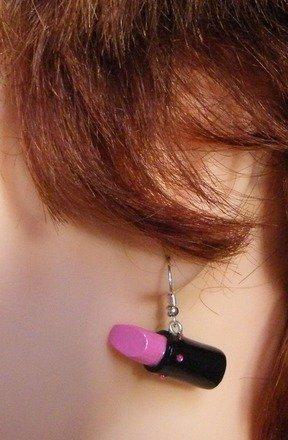 Boucle d'oreille Rouge à lèvre en fimo #2 Argent 925